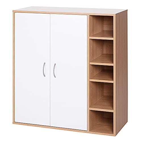 HOMCOM Mehrzweckschrank Standschrank Standregal Dekoschrank Bücherregal Schrank Holz Natur + Weiß 80 x 32 x 90,5 cm