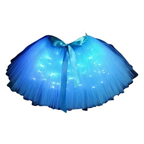 JOYKK Damen Light Up Ballet Dance Lagen-Tüllrock mit Satinschleife - 4# Hellblau