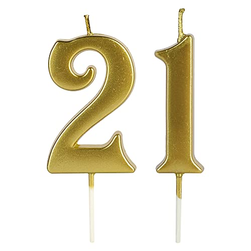 Gold 21st &12th Birthday Number Candles for Cake, Number 21 12 1 2 Glitter Candle Party Anniversary Cakes Decoration for Kids Women or Men