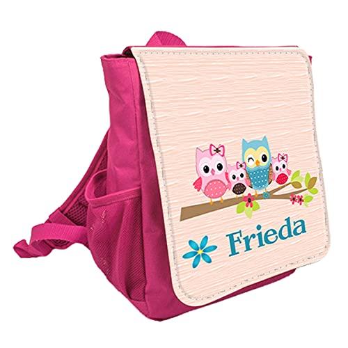 wolga-kreativ Kleiner Rucksack Kindergartentasche Eulenfamilie Kinderrucksack Kindergartenrucksack Mädchen Jungs Kinder mit Namen Tagesrucksack Kindergarten Kindertasche