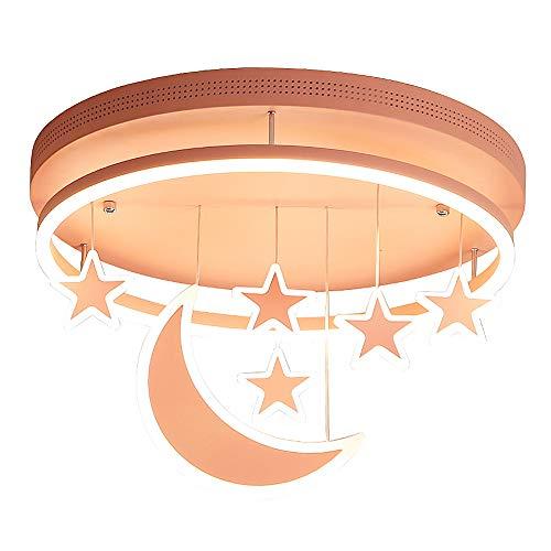 Kinderkamer Plafondlamp Roze Meisjeskamer Slaapkamer Lamp, Dimbare LED Plafondlamp met Afstandsbediening, Babykamer Prinses Kamer Kleuterschool, met Sterren en Maan Decoratie, Ø52cm 54W