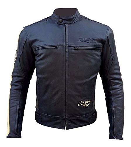 BIESSE Motorradjacke aus Leder im Vintage-Stil mit abnehmbarem Innenfutter, Thermoweste in schwarz-weiß, Größen XS - 4XL, mit CE-Protektoren 4XL Schwarz