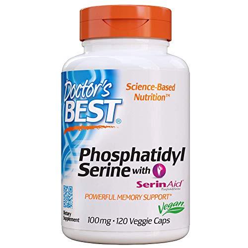 Doctor's Best, Phosphatidylserin mit SerinAid, 100mg, 120 Kapseln | Vegan | Hochdosiert | ohne Gentechnik | Glutenfrei