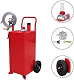Parts-Diyer 30 Gallon Portable Gas Caddy Oil Storage Tank Large Gasoline Diesel Can with Rolling Pump, 2 Wheels