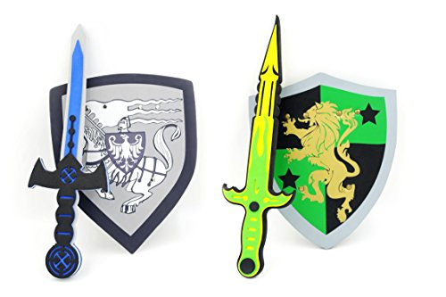 PowerTRC Sword and Shield Play Set | Unique Sword and Shield Design | Foam Weapons | Pretend Play Weapons | Kids Play Knights | White Eagle and Golden Lion Shield