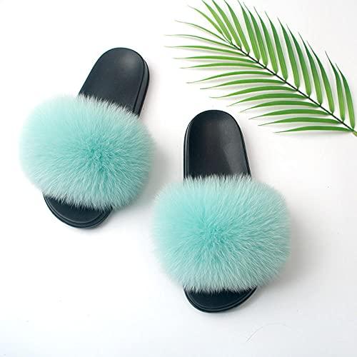 Kirin-1 fluffy sliders fur slippers women-41-42_blue