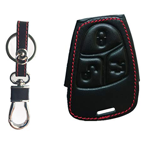 KAWIHEN Smart Remote Keyless Entry Key Fob Leather Cover For Mercedes-Benz C230 C240 C280 C350 C43 C55 AMG CL500 CL600 CLK320 CLK430 CLK500 E320 E350 E430 E500 G500 G55 AMG ML320 ML350 IYZ3312(4 Btn)