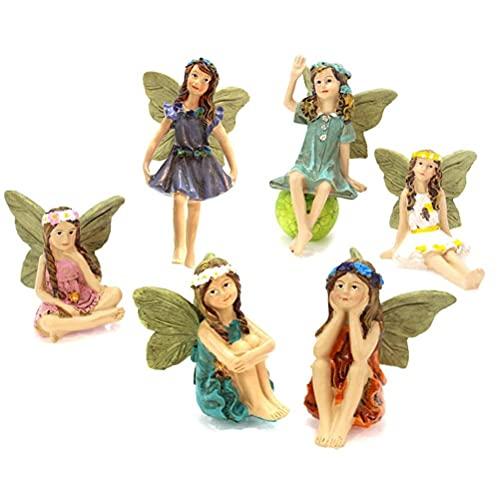 BSTCAR 6 Pièces Fee Figurine, Résine Ange Figurine Décorations Miniatures, Utilisé Pour La Décoration De Gâteau Danniversaire De Famille Et Jardin