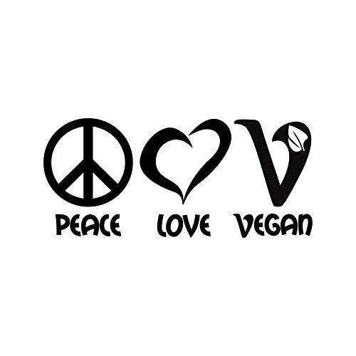 Peace love vegan Aufkleber Veganismus Veganer Laptop Sticker Autoaufkleber (Schwarz)
