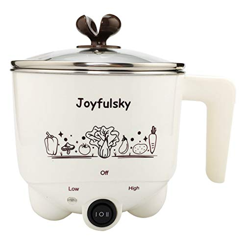 Joyfulsky 1.5L Electric Hot Pot with Steamer Green Color 304 Stainless Steel Pot Student Pot Mini Cooker Multi-function Pot Noodles Cooker...