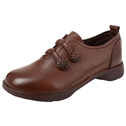 JDGY Botines de piel para mujer, botines cortos, planos, para el tiempo libre, retro, con suela suave, zapatos de piel para mujer, botas cortas, antideslizantes., marrón, 39.5 EU