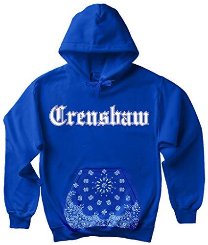CaliDesign Men's Blue Bandana Crenshaw Hoodie OG LA Crip Clothing Slauson Hooded Sweatshirt - Blue - X-Large