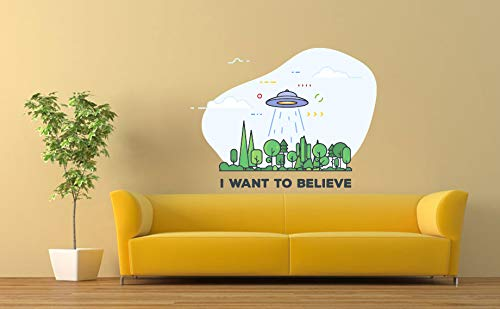 I Want To Believe UFO Alien Space Mural D Sticker Car 5 ☆ very popular OFFicial store Vinyl Wall