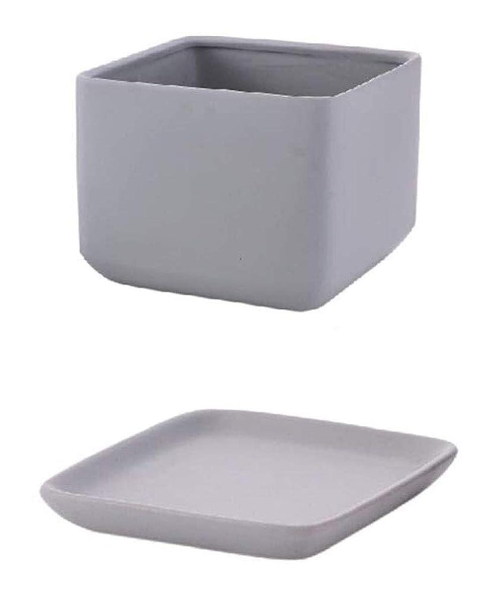 永続粘液塩実用植木鉢 ガーデニング植木鉢- 小さなセラミックス工場ポット、オフィスベッドルームフラワーポット、プランタートレイと、ドレインホール、マットホワイト/マットグレー19 * 19 * 16CM ベッドヘッド植物装飾容器 (Color : Gray, Size : 19*19*16CM)