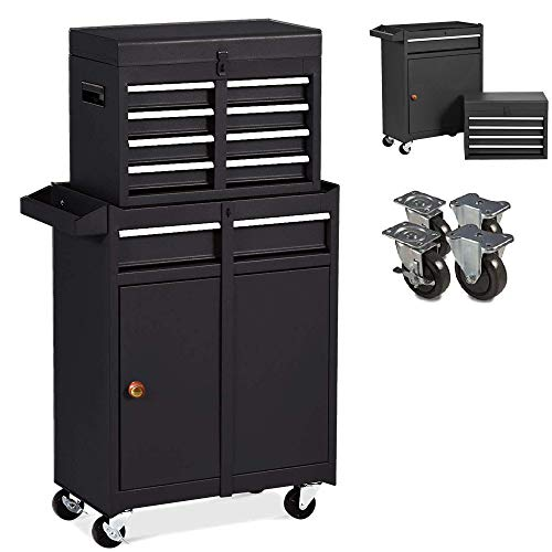Tool Chest with Storage Drawers Tools Storage Cabinet with Wheels,Detachable Top Tool Box,Large Capacity Toolbox for Workshop (Black)