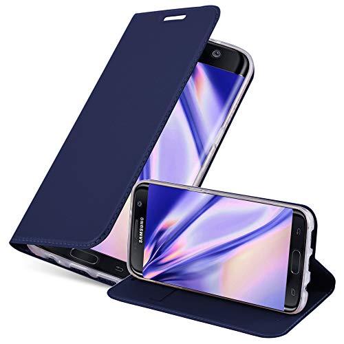 Cadorabo Funda Libro para Samsung Galaxy S7 Edge en Classy Azul Oscuro - Cubierta Proteccíon con Cierre Magnético, Tarjetero y Función de Suporte - Etui Case Cover Carcasa