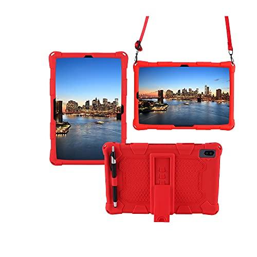 Tablets Duras Tablet Funda para Samsung Galaxy Tab S6 10.5'T860 (2019), Cubierta Protectora a Prueba de Golpes de Silicona Suave y Ligera con Correa de asador y Hombro Tablets Fundas (Color : Red)