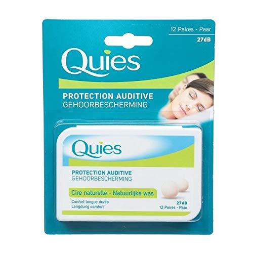 Quies Protection auditive, cire naturelle, confort longue durée, idéal pour dormir, 27 décibels - Le blister de 12 paires