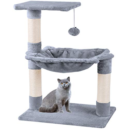 Mcdear Cat Tree Scratching Post Cat Tower Climbing Tree Sisal Plush with Ball Hammock 70cm Gray