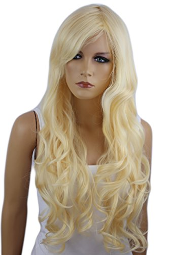 PRETTYSHOP Unisexe Perruque Pleine Cheveux Longs Fibres Synthétiques Résistant à La Chaleur Ondulé Volumineux blond platine # 613 FS836f