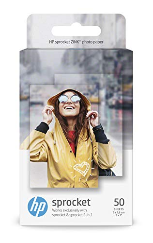 HP 1DE37A, 5 x 7.6 cm/2 x 3 Inch, Sprocket Photo Paper Sticky-Backed, 290 gsm, 50 Sheets