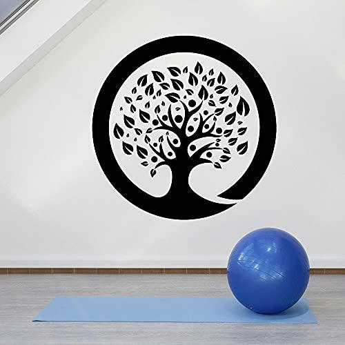 WERWN Calcomanía de Vinilo para Pared Zen Circle Ensor Tree Yoga Sala de meditación Dormitorio Interior Art Deco Puerta Ventana Pegatina Papel Tapiz