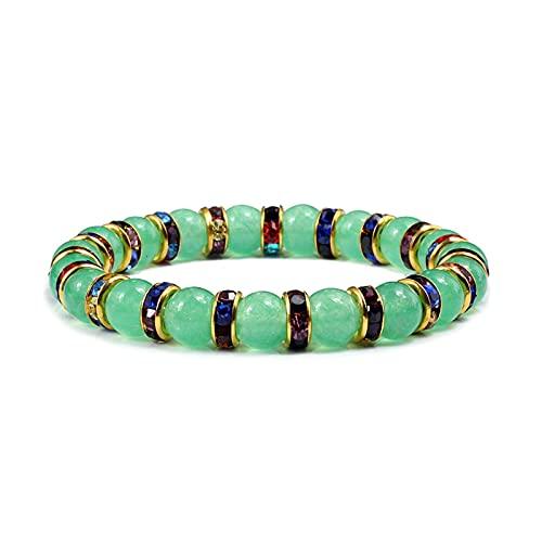 Nueva Chrysopraase Gem Yoga Pulseras Green Aventurine y Malay Jades Amistad Brazaletes Rhinestone Jewelry Best Friend Women Regalo (Metal Color : Style 4)