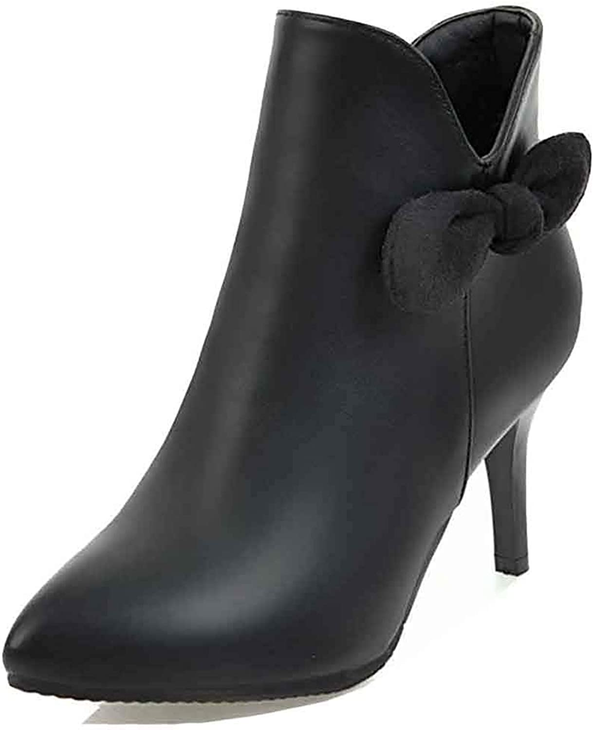 Unm Women's Elegant Bow Short Boots with Zipper - Trendy Sexy Pointy Toe - Stiletto High Heel Ankle Booties
