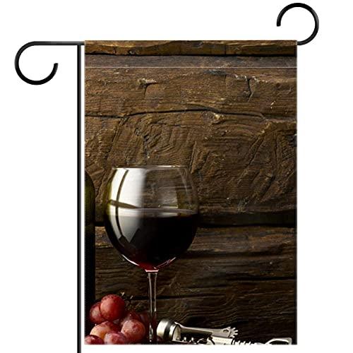 Bandera de jardín de casa de doble caraDecoración exterior de patio de primavera verano 28x40in,Botella de uva y copa de vino tinto