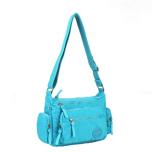 Bolsa Casual Mochila de Nylon Multi-Bolsillo del Hombro del Bolso de Escuela Ligera Bolsa de Crossbody (Color : Lake Blue, Size : 28 * 9 * 22cm)