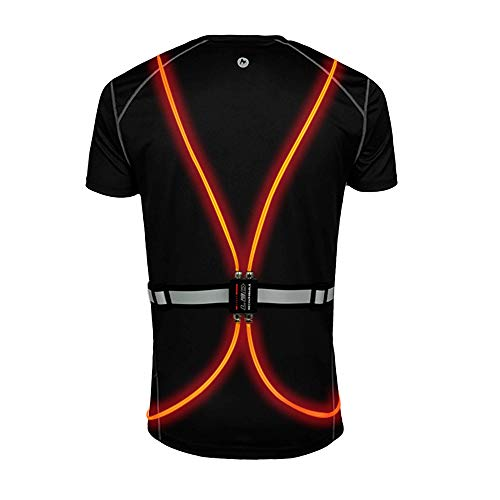 Olook High Visibility Reflective Vest with LED Fiber Optics and Front Light Adjustalbe Running Gear USB Rechargeable for Jogging or Cycling