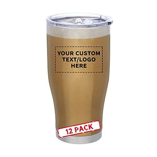 24 oz. Avalon Metallic Stainless Steel Travel Mugs - 12 pack - Customizable Text, Logo - Gold