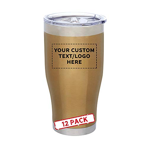 24 oz. Avalon Metallic Stainless Steel Travel Mugs - 12 pack - Customizable Text, Logo - Gold
