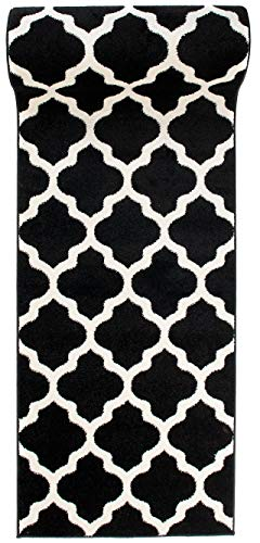Läufer Teppich Brücke Teppichläufer - Orientalisches Marokkanische - Flur Modern Designer Muster Meterware - Casablanca Kollektion von Carpeto - Schwarz Weiß - 70 x 200 cm