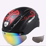 nohbi Scooter Cascos de Moto Integrales,Casco de Bicicleta Unisex Integrado con Gafas Casco para Montar - Negro A,Casco Deportivo Unisex
