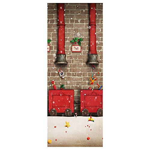 Muursticker Home Art 3D Deur Stickers Rode Open Haard Afbeelding, DIY Art Creatieve Decoratieve Behang Poster Vinyl Sticker, Waterdichte Afneembare 77X200Cm