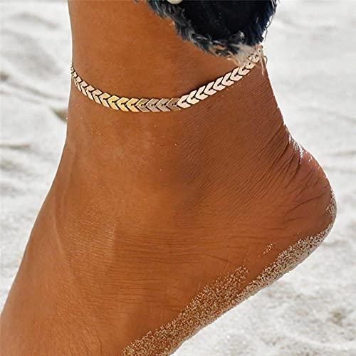 allforyou Pulsera de la Pierna de la Flecha del Color del Oro Bohemio para Las Mujeres Vintage Yoga Beach Toblet Sandalle Sandals Sandalias Sandalias Sombrillas Descalzo