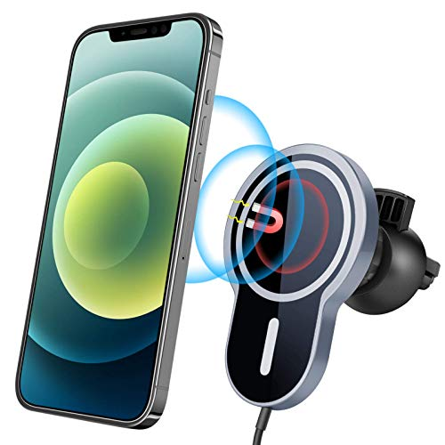 Magnetic Wireless Car Charger, [2021 Upgraded Version] Topume 15W Qi Fast Charging Car Phone Mount, Air Vent Phone Holder Compatible with iPhone 12/12Mini/12Pro/12Pro Max