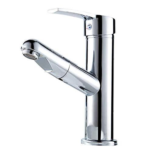 Wasserhahn Küche Badarmaturen Armaturen Wasserhahn Kupfer Bad Wasserhahn Waschbecken Warmes und kaltes Wasser Versenkbarer, drehbarer Badezimmerschrank Ausziehbarer Wasserhahn