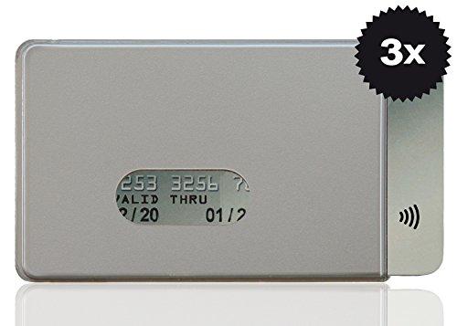 OPTEXX® RFID-Schutzhülle TÜV geprüft & zertifiziert Fred Silber für Kreditkarte | EC-Karte | Personal-Ausweis aus Hart-Plastik-Hülle sicheres Blocking von Funk Chips (Silber 3x)