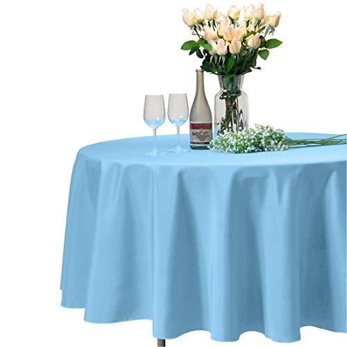 VEEYOO - Tovaglia Rotonda o Quadrata in Diverse Misure, Colore a Tinta Unita, Ottima per apparecchiare la tavola per Matrimoni, ristoranti, Eventi, Tessuto, Baby Blue, Rotondo-335 cm