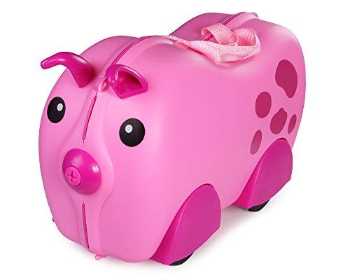 Ondis24 Kinderkoffer Hardcase Ziehkoffer Sitzkoffer Rutschkoffer Trolley (Schweinchen)