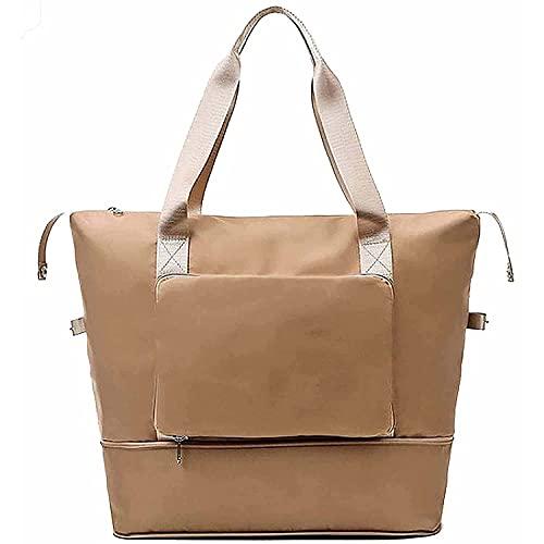 Large Capacity Folding Travel Bag - Waterproof Lightweight Travel Bag, Foldable Carry Luggage Bag, Separation Sports Portable Shoulder Bag for Sport, Gym, Vacation (Khaki)