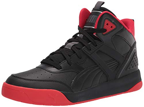 PUMA Unisex Backcourt Mid Sneaker, Black Black-high Risk Red-Dark Shadow Silver, 42 EU