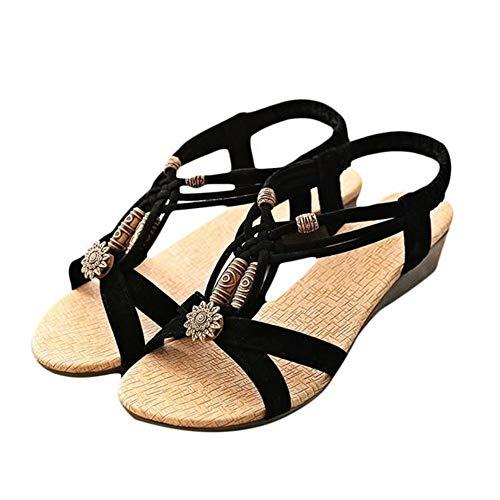 MRULIC Damen Schöne Sommer Strand Sandalen Casual Peep-Toe Flache Schnalle Schuhe Römische Schuhe Niedrige Ferse