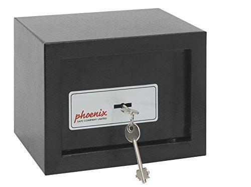 PHOENIX Safe Company, SS0721K, cassaforte compatta con Serratura a Chiave per casa e Ufficio, Colore Nero