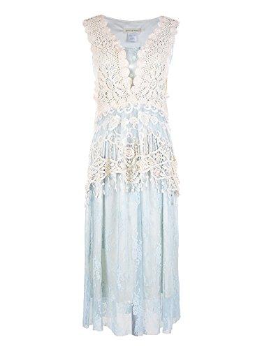 Anna-Kaci flor del cordón del ganchillo de la vendimia mujeres de dos piezas hizo punto el vestido rizado encubrimiento de 1920 mangas gastby