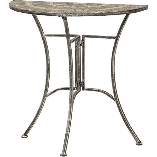 Siena Garden Tisch Felina, 35,5x70x71,5cm, Gestell: Stahl, pulverbeschichtet in silber-schwarz, Fläche: Mosaik,Tischplatte: Keramik