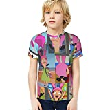 Kids' Sexy Bob's Bur-Gers Louise Bel-Cher T-Shirts Crew Neck, Breathable Smooth Tee Shirt, Unique Short Tee for Exercise Party Stylish Streetwear