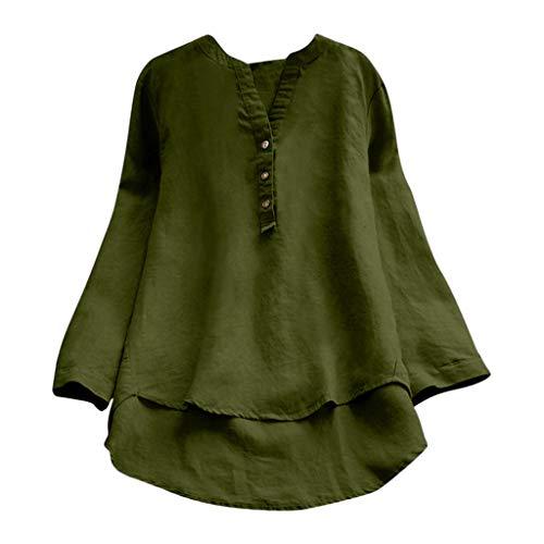 QIMANZI Übergröße Damen Lange Ärmel Kaftan Ausgebeult Taste Bettwäsche aus BaumwolleTunika Bluse(ZX Grün,2XL)
